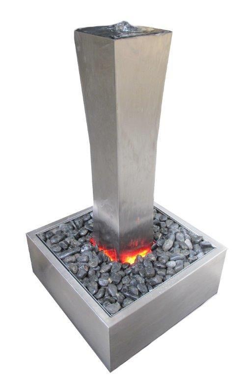 DIYMegaStore - Square Column Stainless Steel Water Feature - Freestanding, $495.00 (http://www.diymegastore.com.au/square-column-stainless-steel-water-feature-freestanding/)