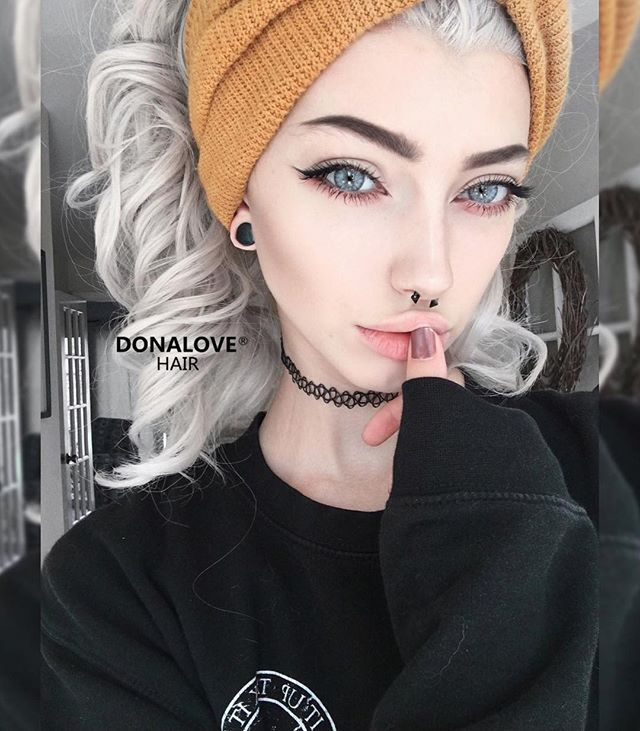 WEBSTA @ donalovehair - Our sweet love @sarahmariekardax is rocking her gray wavy wig from @donalovehair She has sooo much fun with her new wigHow do you love it, girls??Wig-SNY053Use code: LOVE to get $10 off on your order www.donalovehair.com #mermaid #donalovehair #donalove #hair #wig #pretty #gray #fun #hair2016 #fashion #love #makeup