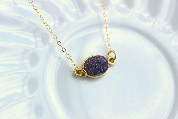 Oro viola collana Druzy naturale Druzy gioielli collana di laalee