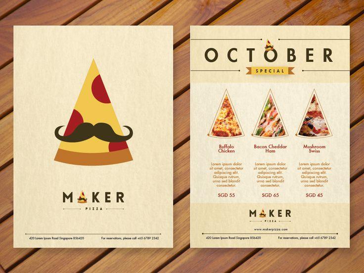 Maker Pizza. Logo, brochure and poster design.