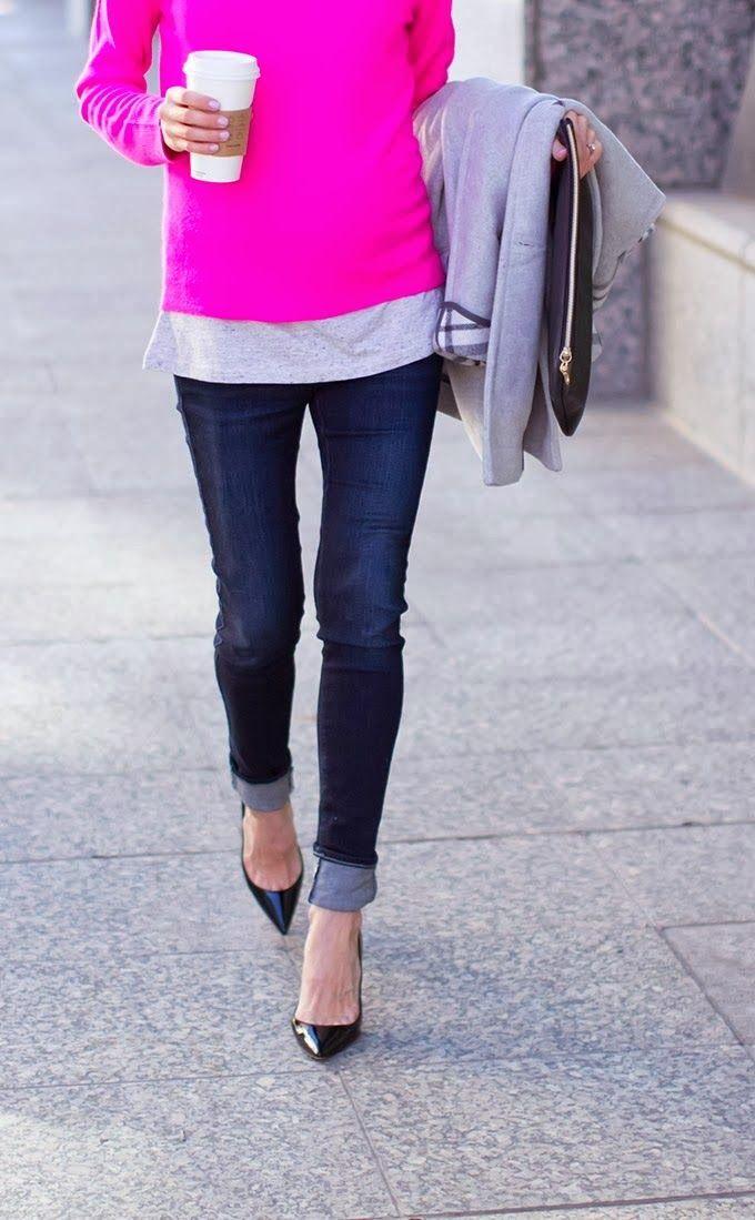 Casual Saturday...dark denim, cuffed, pointy kitten heel/flat, pink punch, layered, latte...love it