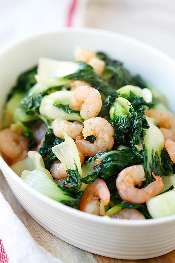 Baby Bok Choy with Shrimp – Healthy and delicious baby bok choy stir fried with shrimp. 3 ingredients, so easy to make. Perfect for a wholesome meal.