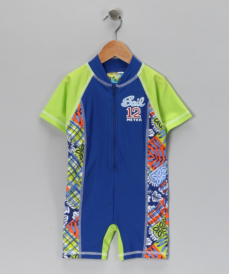 Cool 'surfer' look suit for sizes 2T to 7 protects from sun with 50spf, as well as rash from sand/rough surfaces