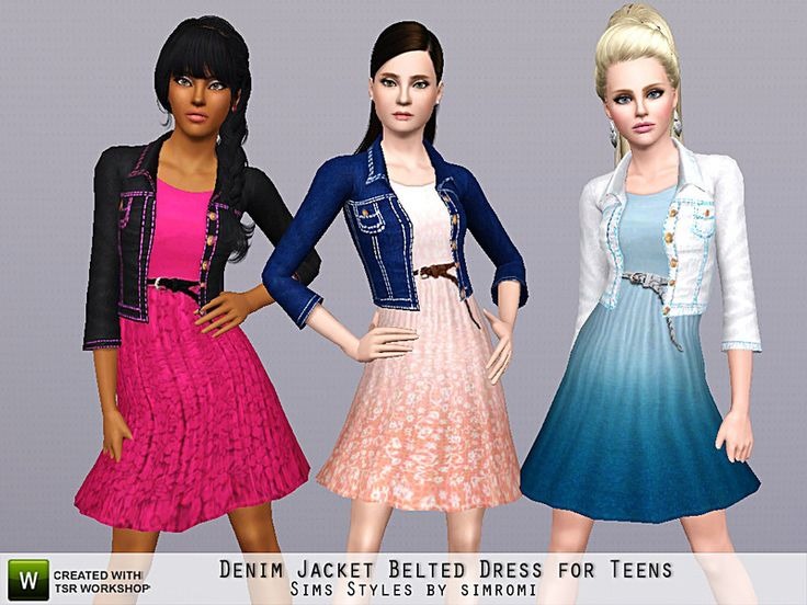 simromi's Denim Jacket and Belted Ombre or Lace Dress for Teens