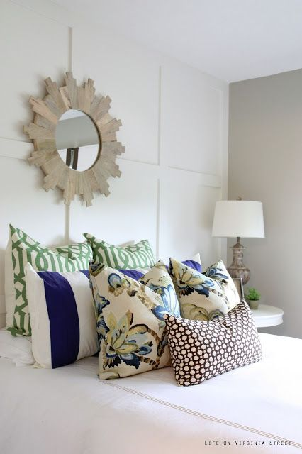 Queen Guest Bedroom Reveal | Life On Virginia Street  Love the color combo of the pillows.