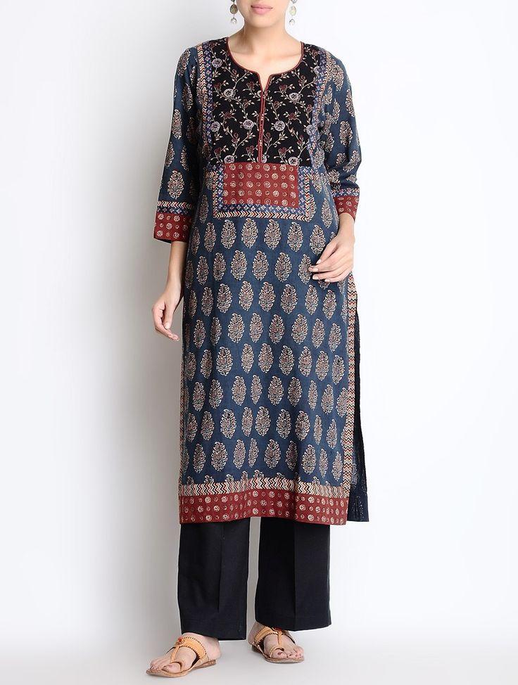 Indigo Ajrakh Printed Cotton Kurta