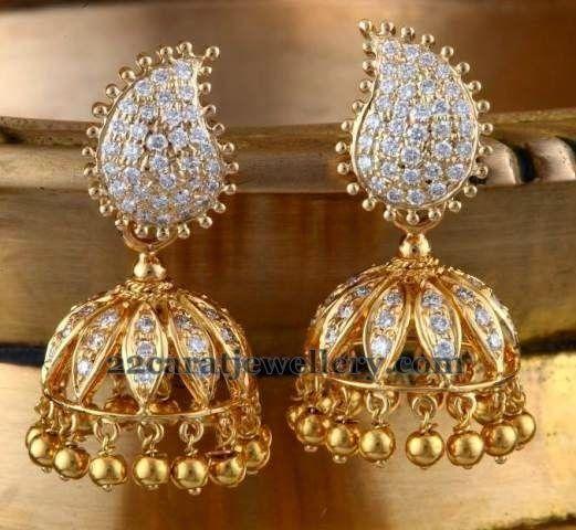 Paisley Design Diamond Jhumkas