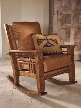 Pendelton Arts & Crafts Rocker, Stagecoach Brown weathered leather, $1400