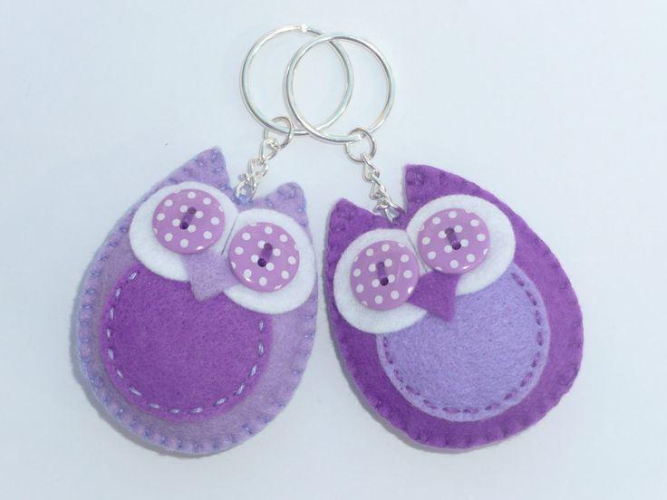 Twit Twoo - Purple Felt Owl Keyring @Lisa Phillips-Barton Phillips-Barton Phillips-Barton Inglis