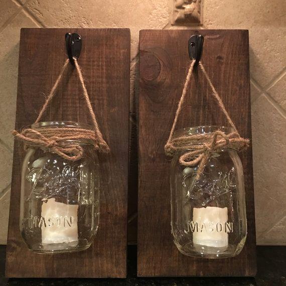 Set of 2 Hanging Mason Jar Sconces with LED by PaulasHomeDecor
