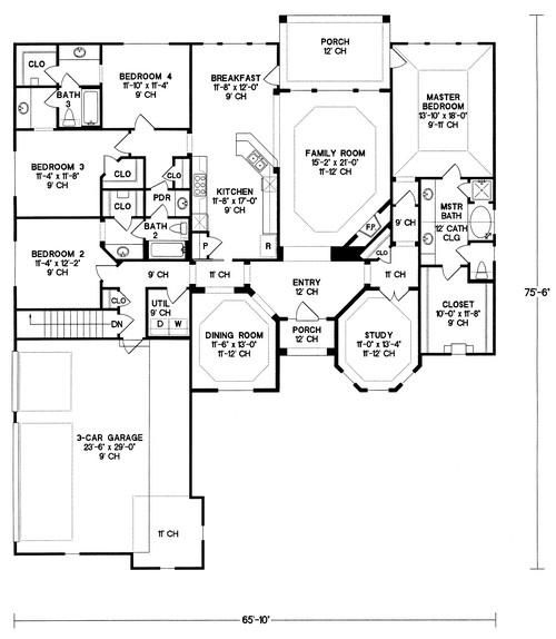 House Plan 402 01027   Ranch Plan: 2,679 Square Feet, 4 Bedrooms, 3  Bathrooms