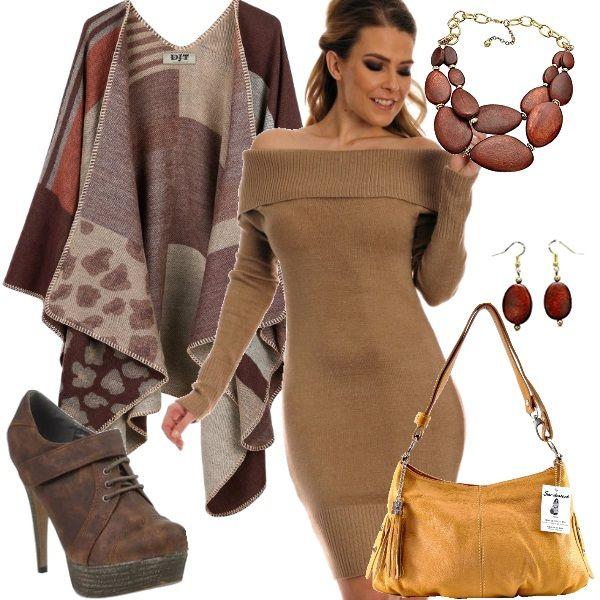 Mai mettere da parte il lato femminile e sexy, nemmeno in autunno. In questo look dai colori caldi ho inserito un maglione a vestito aderente con scollo alla Bardot, un set di collana e orecchini per arricchire il décolleté, stivaletti stringati con tacco a spillo, mantella in fantasia e borsa in color senape con ciondolo a nappina.