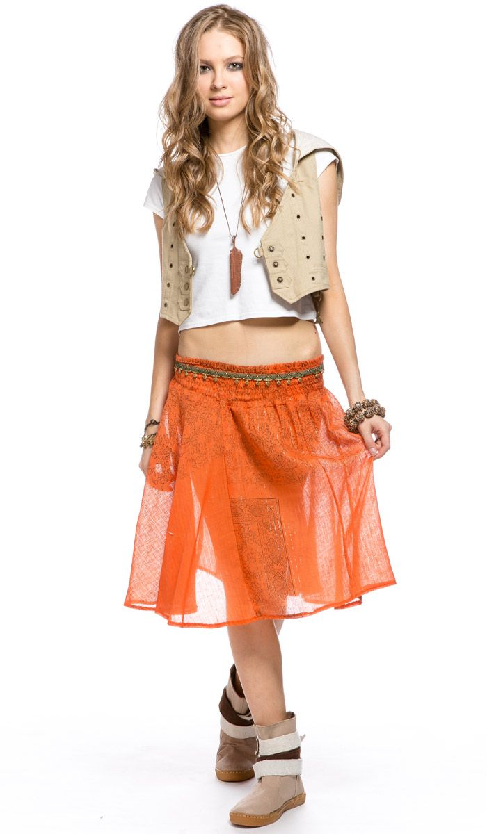 Женская короткая юбка, оранжевая юбка, этническая одежда из Индии, бохо стиль, Women's short skirt , orange skirt , ethnic clothing from India, Boho style. 1180 рублей