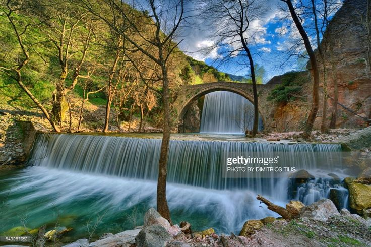 Palaiokarya's Stone bridge and two artificial falls