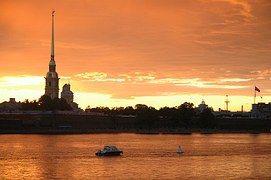 San Petersburgo Rusia, Puesta Del Sol