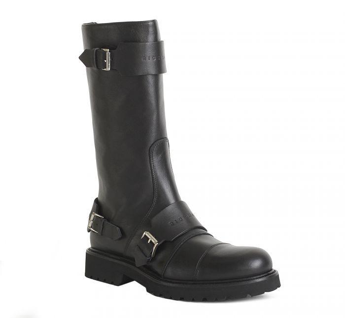 Richmond Грубые черные кожаные сапоги от итальянского бренда Richmond