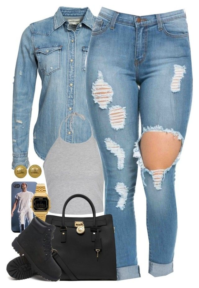 """Untitled #1510"" by power-beauty ❤ liked on Polyvore featuring Denim & Supply by Ralph Lauren, Ally Fashion, MICHAEL Michael Kors, Casio, Timberland and Chanel"