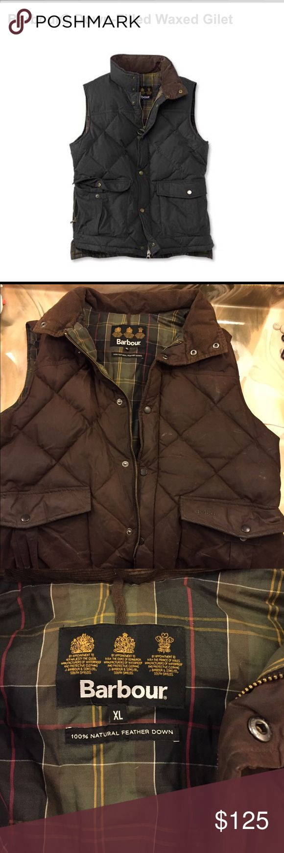 Barbour waxed cotton vest Men's Barbour waxed cotton quilted vest. Brown in color. Size XL. In great shape. Barbour Jackets & Coats Vests