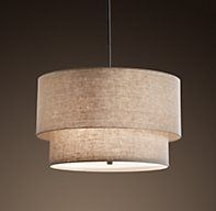 Two-Tier Round Shade Pendant Sand (or white) with Satin Nickel (not shown) hardware  25.25 diam 180W $575