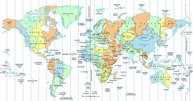 Large World Time Zone Map