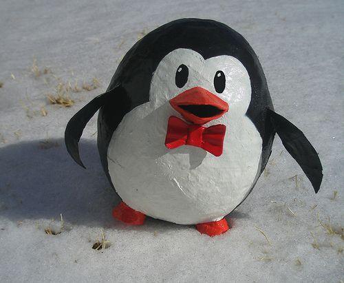 Penguin pinata present ideas pinterest craft making for Paper mache ideas for kids
