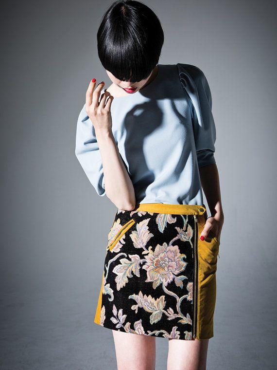Jacquard zipper skirt  Mustard yellow// party // by DRESSbyEnlee