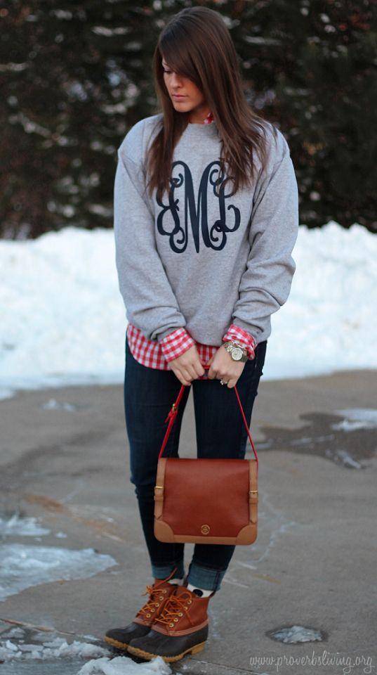 gingham shirt + monogrammed sweatshirt + dark skinny jeans + Bean boots: