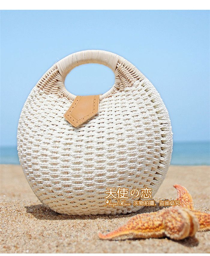New Girl Straw Bag Street Fashion Handbag Round Rattan Latest Women Shell Bag Casual Retro Tide Bag Beach Bags