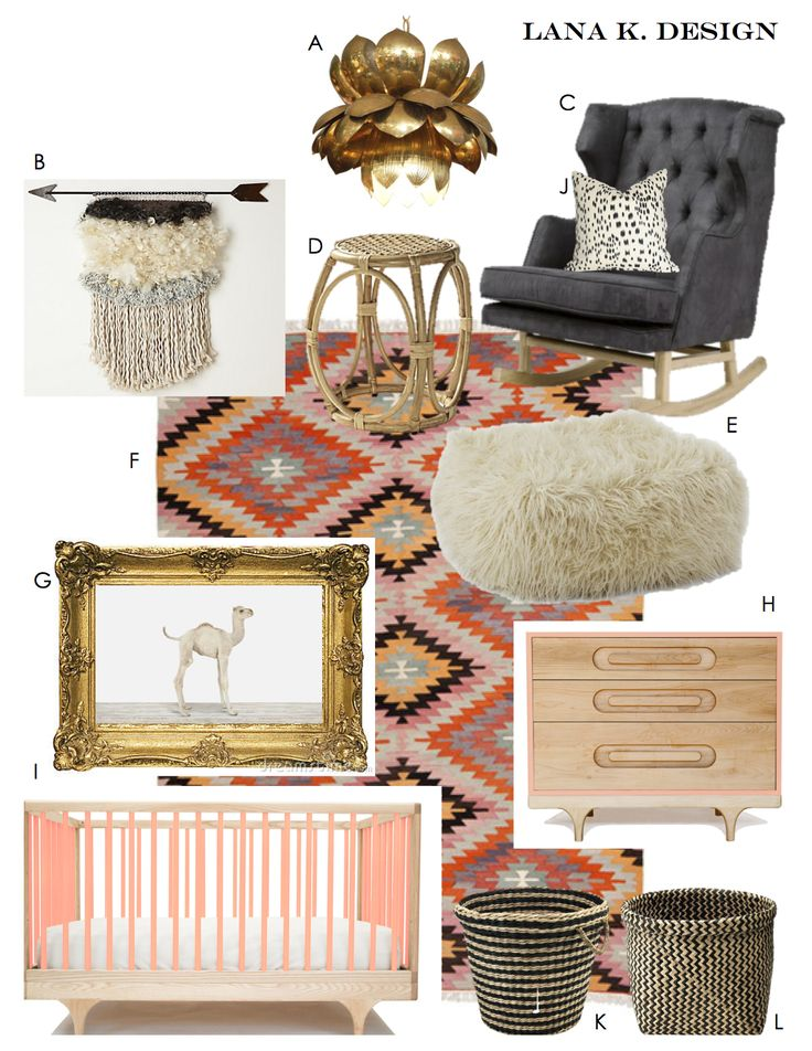 Project Georgia Peach:  eco friendly nursery, green nursery, organic nursery, girl nursery, kilim rug, brass chandelier, sharon montrose camel print, modern nursery, contemporary nursery, bohemian nursery, nurseryworks rocker