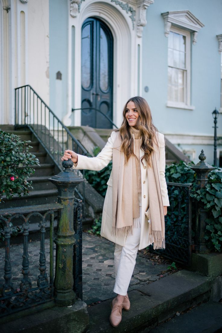 Gal Meets Glam Winter White & Cream -J.Crew coat, J.Crew turtleneck , J.Crew jeans, c/o, Max Mara scarf, Everlane oxfords & Clare V clutch
