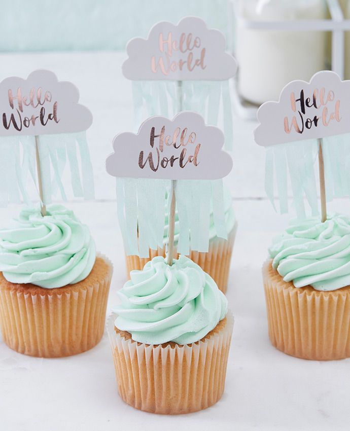 Ensure you have the cutest baby shower cupcakes with these adorable cloud cupcake toppers. An easy baby shower party food idea. See our whole range of Hello World party supplies at partydelights.co.uk.