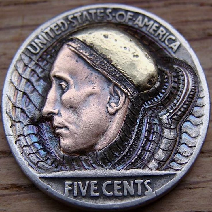 PAUL HOLBRECHT HOBO NICKEL - WIZARD FROM OUTER SPACE - 1937 BUFFALO NICKEL REVERSE CARVING