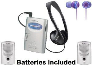 "Sony Walkman Portable Lightweight AM FM Stereo Radio with Belt Clip, Over the Head Stereo Headphones, Deep Violet Fashion Earbud Headphones & Passive Lightweight Portable Speakers - Batteries Included by Sony. $39.95. Listen to a wide range of programming music with this AM FM Walkman radio & it's so lightweight you can take it virtually anywhere. Delivering great sound in a small package, this stereo features an AM FM tuner and an easy-to-use tuning knob. One ""AA"" battery provi..."