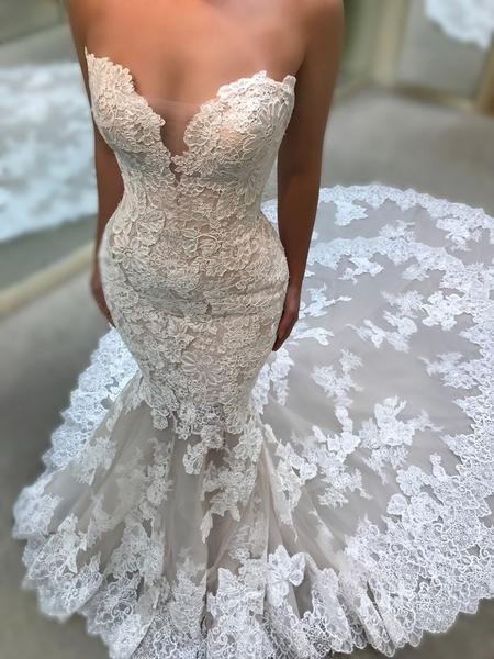 Vintage Sweetheart Lace Mermaid Train Elegant Wedding Dresses, AB1513