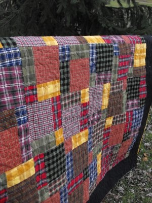 Flannel Scrap Quilt @Hanging On by a Needle and Thread