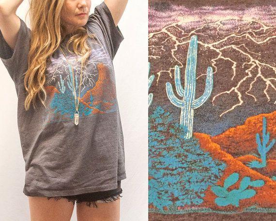 90s Vintage Desert Tee | Soft Thin Southwestern Lighting Sedona Arizona T-Shirt | Cacti Landscape Tshirt | Biker Scenic Thunder Graphic Tee