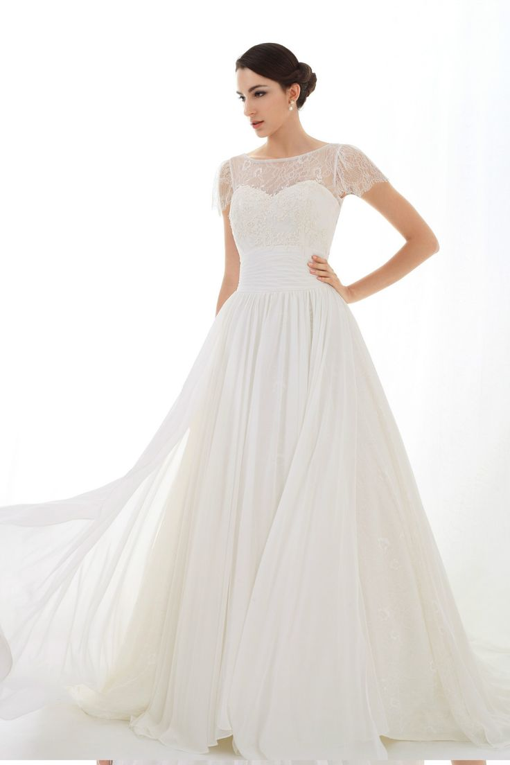 Chantilly lace cap sleeves wedding gown with V back