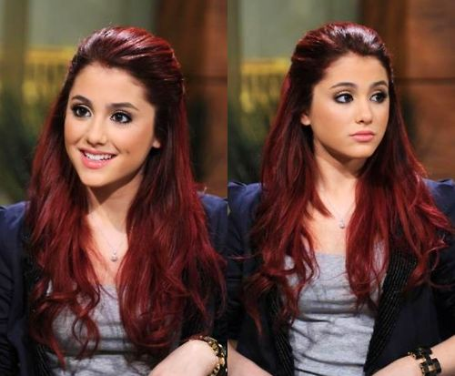 Ariana Grande red hair, if im ever brave enough I will dye my hair this color, it looks like we have the same skin tone and dark eyes, I like the way it looks