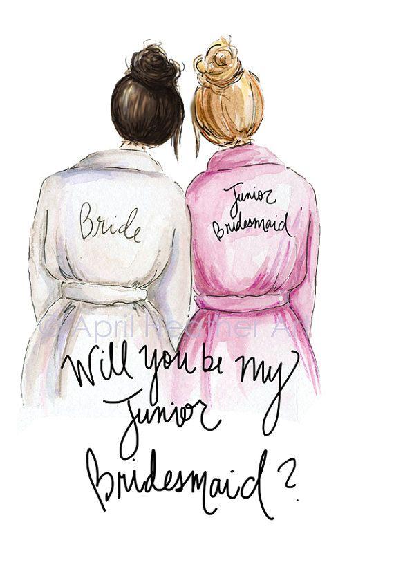 junior Bridesmaid PDF Brunette Bride Blonde Jr by aprilheatherart
