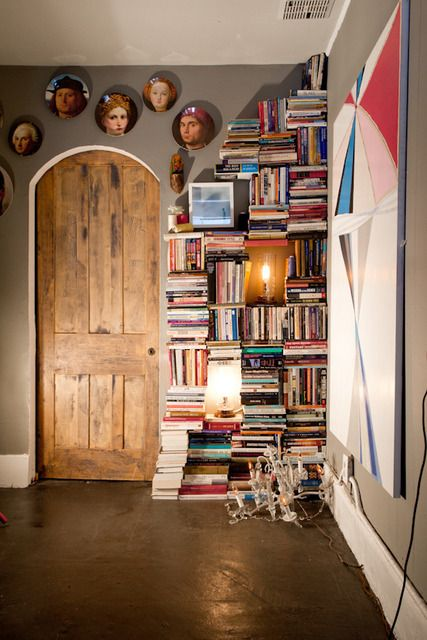 shelf-less book shelf: Libraries, Book Shelf, Bookshelves, The Doors, Apartment Therapy, Book Nooks, Book Shelves, Poke Acupuncture, Small Spaces