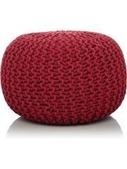 Knitted Pouffe - Dark Pink