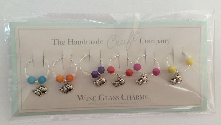 Set of 6 'cat' wine glass charms. More to be found at www.handmadecraftcompany.co.uk