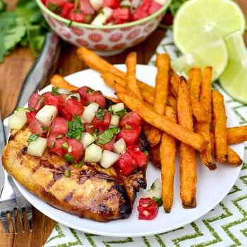 Marinated Grilled Chicken with Cucumber-Watermelon Salsa