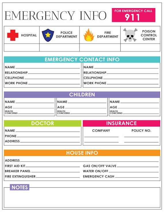 Emergency Information Sheet Emergency Contact Information ...