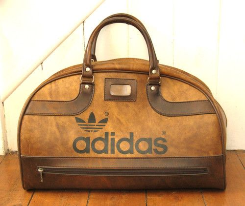 7f54888c66 VINTAGE ADIDAS PETER BLACK (KEIGHLEY) BROWN HOLDALL SPORTS BAG RETRO 1970's  80's