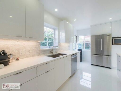 Glossy white flat panel kitchen cabinet  Someday Kitchen