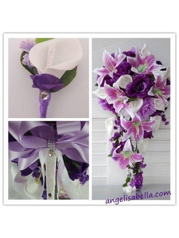 Purple Calla Lily Wedding Bouquet   Calla lily, Purple, Lavender and White Wedding Bridal Cascade Wedding ...