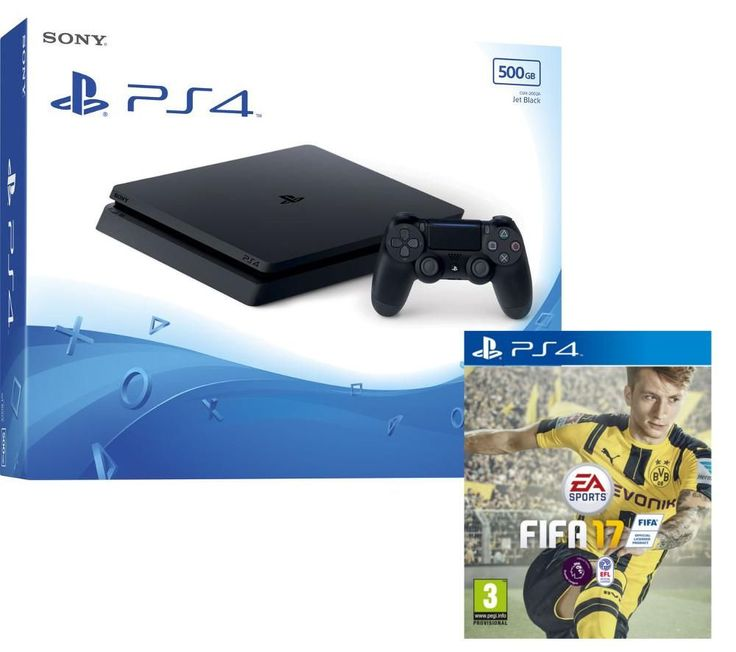 PLAYSTATION 4  Slim & FIFA 17 - 500 GB Price: £ 239.99 Top features: - A revamped design 30% smaller and lighter - Experience more realistic High Dynamic Range graphics - Room for more games with a 500 GB hard drive - Play the latest and best-looking games online A revamped design Discover a revamped PlayStation console 30% smaller and lighter than the previous model and more energy...