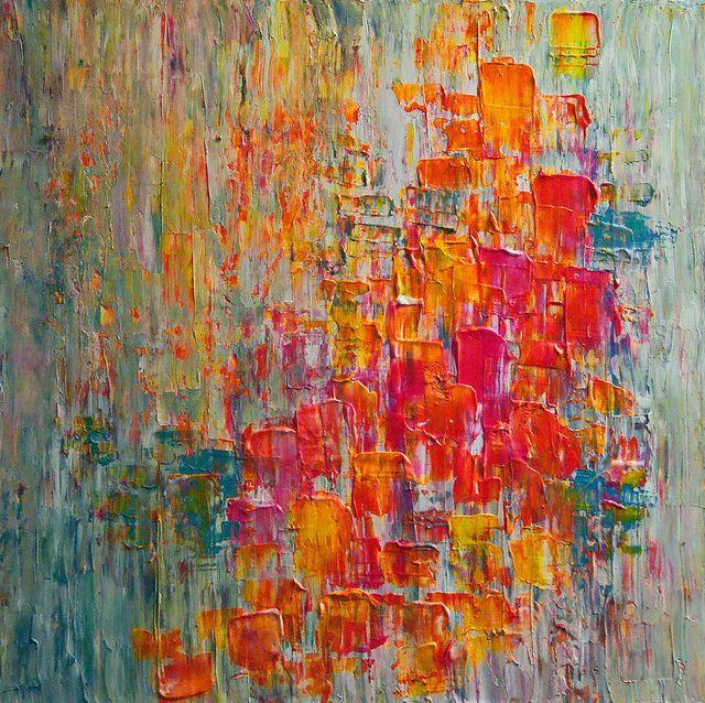 gorgeous acrylic painting with lemon, fuchsia, teal, tangerine orange. unfortunately sold.