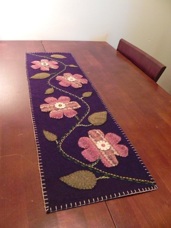 Wool Felt Applique Table Runner with Flowers by Scissaroo